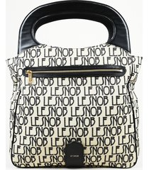 "le snob black monogram canvas ""le clutch foldover"" handbag"