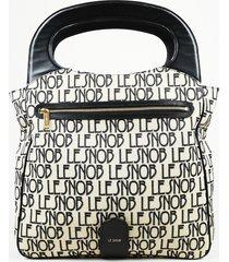 """le snob black monogram canvas """"le clutch foldover"""" handbag"""