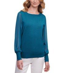 dkny chiffon-sleeves sweater