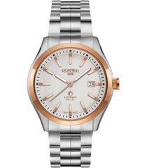 roamer men's 3 hands date 42 mm dress watch in steel case and steel bracelet