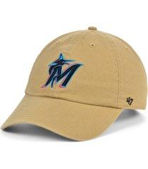 '47 brand miami marlins khaki clean up cap