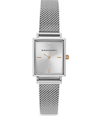 classic rectangular stainless steel mesh bracelet watch