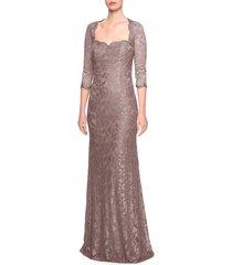 women's la femme lace trumpet gown, size 14 - brown