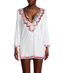 embroidered paillettes coverup dress