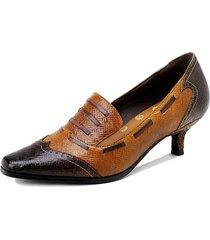 socofy retro etnico stampa scarpe a punta vera pelle scarpe da lavoro con tacco basso décolleté con tacco a cono