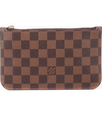 louis vuitton neverfull pouch damier ebene coated canvas wristlet clutch bag brown sz: m