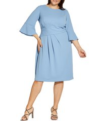 adrianna papell rio ruched knit sheath dress, size 14w in rio blue at nordstrom