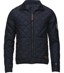 pet light jacket reversible - grs/v doorgestikte jas blauw knowledge cotton apparel