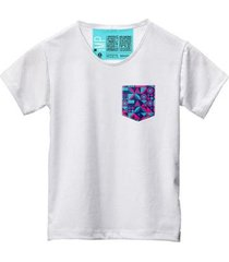 camiseta masculina algodão bolso estampa manga curta moda - masculino