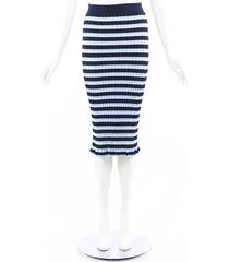 altuzarra blue striped stretch knit midi skirt blue/multicolor sz: m