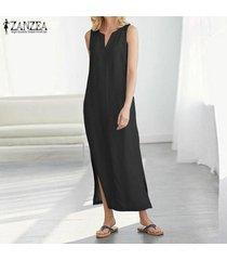 zanzea vestido sin mangas sin mangas para mujer vestido midi con escote alto vestido camisero largo con hombros descubiertos -negro