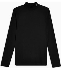 mens black gray embroidered turtle neck t-shirt