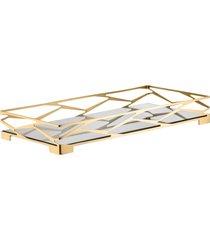 bandeja trama bar retangular ouro 24k com vidro espelhado - riva
