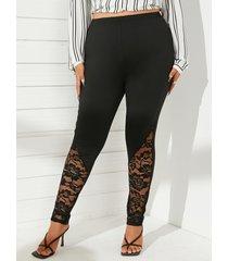 yoins basics plus talla encaje negro pantalones