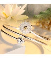 braccialetti etnici del loto di fascino del loto per le donne braccialetti delle donne multistrato placcati oro bianco dell'annata