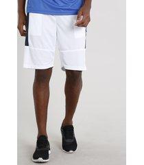bermuda masculina esportiva ace com faixa lateral e bolsos branca