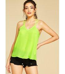 camiseta con cuello en v y tirantes finos verde neón basics de yoins