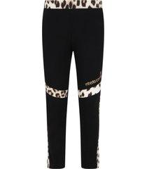 roberto cavalli black leggings for girl with logo