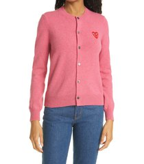 women's comme des garcons play layered hearts applique cardigan, size small - pink