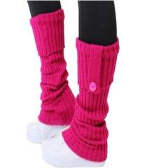 polaina 4 estações meia compressão lã quente conforto lisa esporte com botão rosa escuro