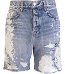 amiri denim shorts with distressed effect