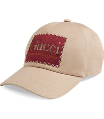 men's gucci la saison logo label drill baseball cap - ivory