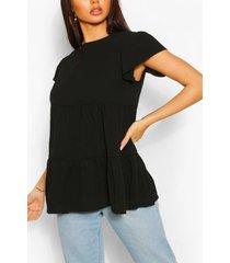 mini jurk met laagjes, pofmouwen en vierkante hals, black