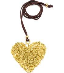 collar de mujer dorado cuore microfilo brass colection by vestopazzo.