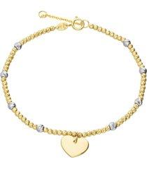 bracciale in oro giallo con cuore e boules bicolore per donna