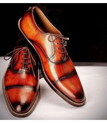 handmade tan leather shoes, oxford two tone dress formal shoes men leather shoes
