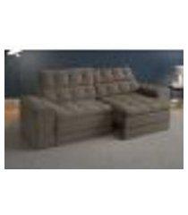 sofá 4 lugares net dominus assento retrátil e reclinável marrom 2,20m (l)