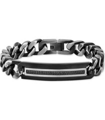 men's diamond id plate heavy curb link bracelet (1/4 ct. t.w.) in stainless steel & black ion-plate