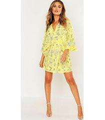 premium hand embellished kimono sleeve dress, yellow