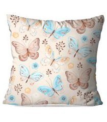 almofada love decor avulsa decorativa borboletas bege