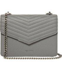 ted baker london mini bonitah quilted leather shoulder bag - grey
