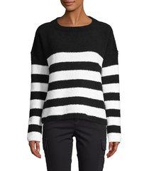 atm anthony thomas melillo women's chenille stripe sweater - black chalk - size xs