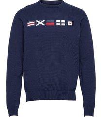 docksides flag knitted crew stickad tröja m. rund krage blå sebago