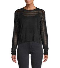 rta women's striped mesh top - jet black - size xs