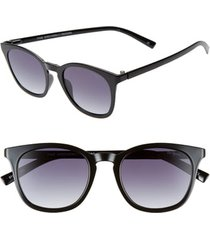 women's le specs fine specimen 51mm square sunglasses - black/ smoke gradient