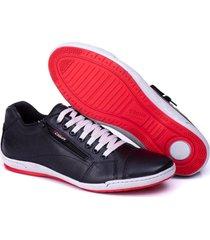 sapatenis couro tchwm shoes masculino ziper lateral dia dia preto
