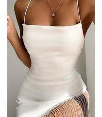 sin espalda diseño halter tassel vestido