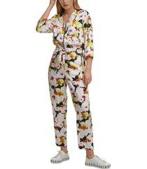 dkny floral-print jumpsuit