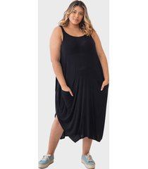 vestido regata saruel com bolsos tecido ultra leve plus size pretoãšnico - preto - feminino - dafiti