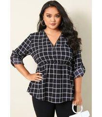 blusa de manga larga con diseño de cremallera a cuadros con cuello en v y talla grande yoins