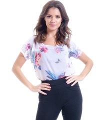 blusa 101 resort wear tunica crepe renda estampada floral vintage
