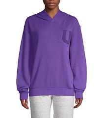 fuzzy logo hooded sweatshirt