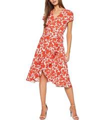 women's bardot fiesta floral faux wrap dress