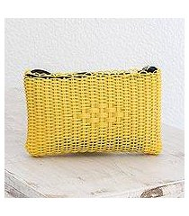 recycled plastic cosmetic bag, 'summer daffodil' (guatemala)