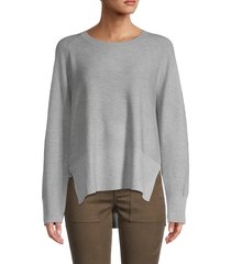 grace women's ribbed high-low sweater - mist grey - size xl