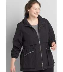 lane bryant women's crinkle cinched-waist jacket with convertible hood 18/20 black